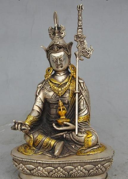 "9""old Tibet Buddhism fane Silver Gilt Guru Rinpoche Padmasambhava Buddha Statue"