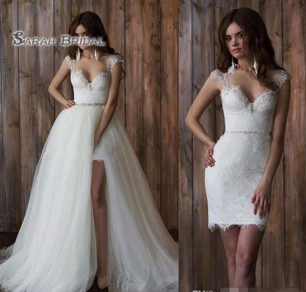 top popular 2019 Tulle Short Bride Dress with Detachable Overskirt Beach Sexy Sleeveless Backless Evening Wear Formal Gown High-end Wedding Boutique 2020