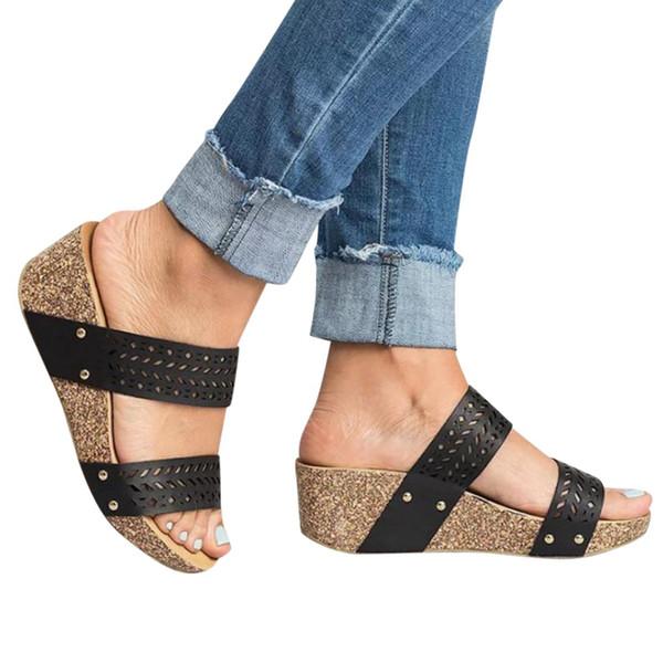 YOUYEDIANO zapatos mujer Cuñas de Moda de Verano Retro Peep Toe Slipper Hollow Tallada Zapatilla zapatos de mujer ayakkabi # y3