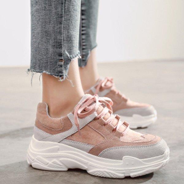 Yeni Bahar Sneakers Kadınlar Platformu Flats Lace Up Yuvarlak Ayak pembe gri Kadın Rahat Moda Konfor Ayakkabı Chaussure Femme