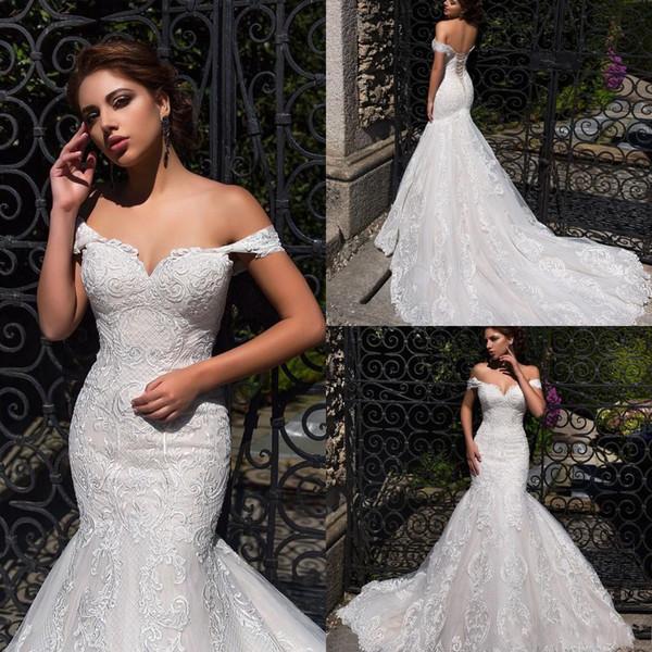Vintage Lussano 2019 Beach Mermaid Wedding Dresses Off Shoulder Applique Lace Up Sweep Train Bridal Gowns Boho Wedding Gown robe de mariée