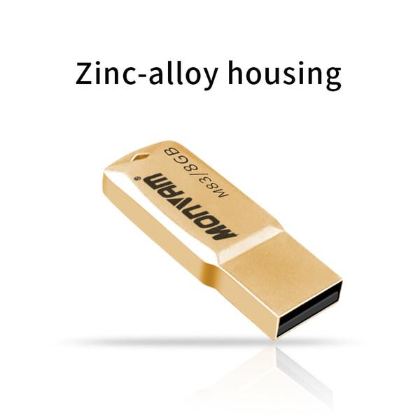 Metal Waterproof Usb Flash Drive Golden Thumb Pendrives USB 2.0 Light And Portable Memory Stick For Monvam M83