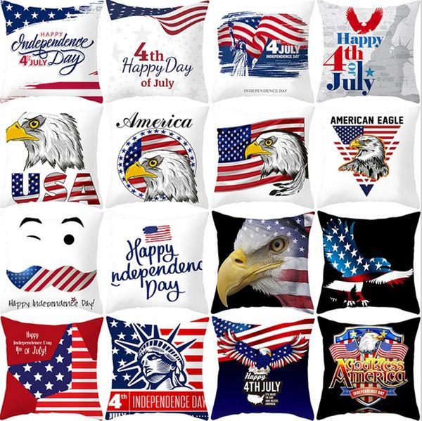 27 Stil Amerikan Bağımsızlık Günü yastık kılıfı kanepe yastık ev dekorasyon bayrak kartal baskı şerit yastık kılıfı 45 * 45 CM