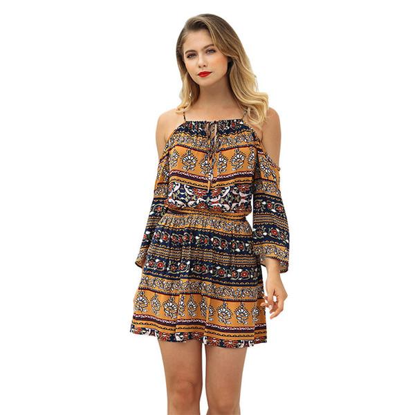 84d104361943 2018 Summer Wear New Pattern Fashion On Vacation Second Printing Strapless  mini club Dress Short Skirt
