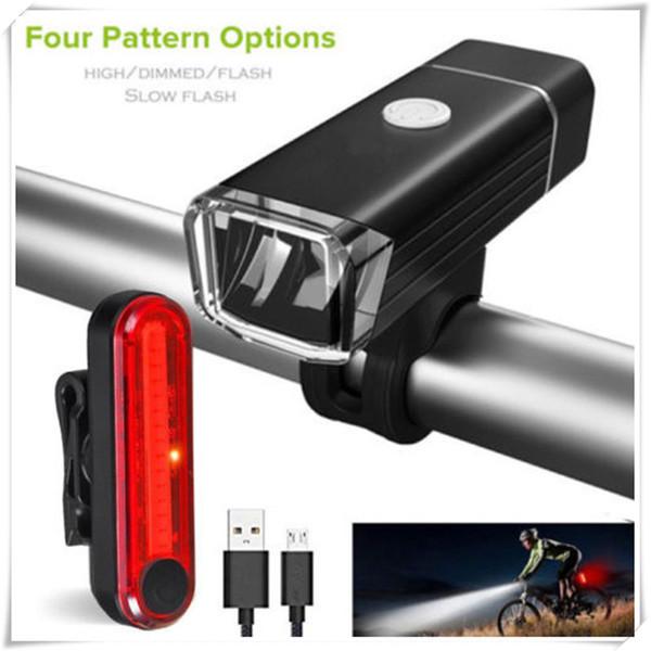 Heißer verkauf radfahren led fahrradbeleuchtung set usb wiederaufladbare zyklus vorne hinten scheinwerfer fahrrad scheinwerfer rücklicht