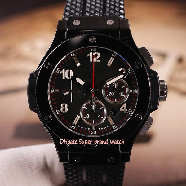 4 Color Best version BANG 44MM 301.CT.130.RX Ceramics Case A7750 Automatic Chronograph Black Dial Mens Watch Rubber Strap Sport Watches