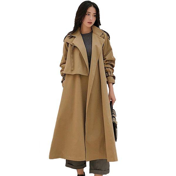 Fashion Khaki Trench Coat Women 2019 Spring Autumn Large size Long Windbreaker Coat Female Belt Slim Long sleeve Trench A2605