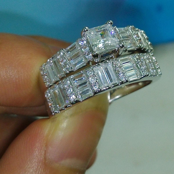 Fashion4U99 2019 Brand Desgin Fashion Jewelry 10KT White Gold Filled Princess Topaz CZ Diamond Gemstone Women Wedding Bridal Couple Ring Set