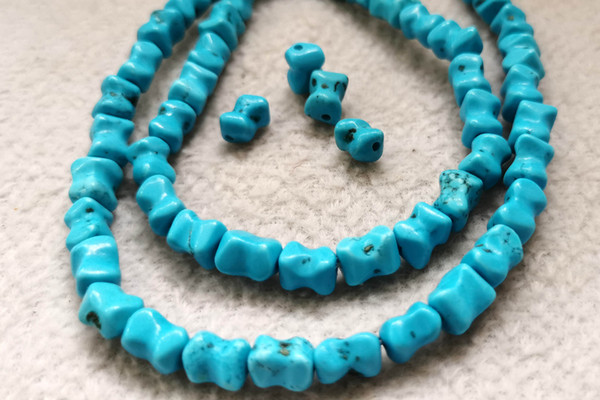 best selling 50pcs 6x8mm Rough turquoise stone -dark blue Turquoise column tube nuggets loose beads for necklace bead-earrings
