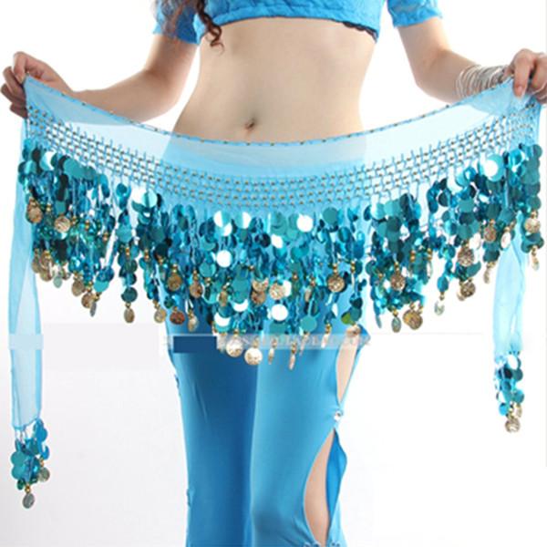 Femmes Sexy en mousseline de soie danse du ventre hanche foulard 58 pièces paillettes ceinture ceinture jupe hanche wrap