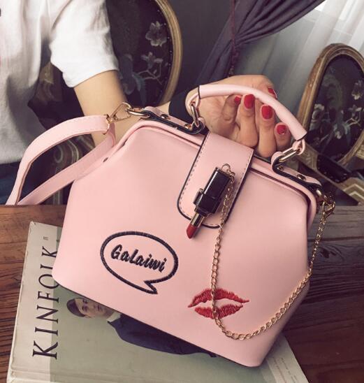 2019 Women handbag Fashion embroidery Lipstick chain Lock designer luxury handbags purses Casual Shoulder Messenger Bag cross body bag 279