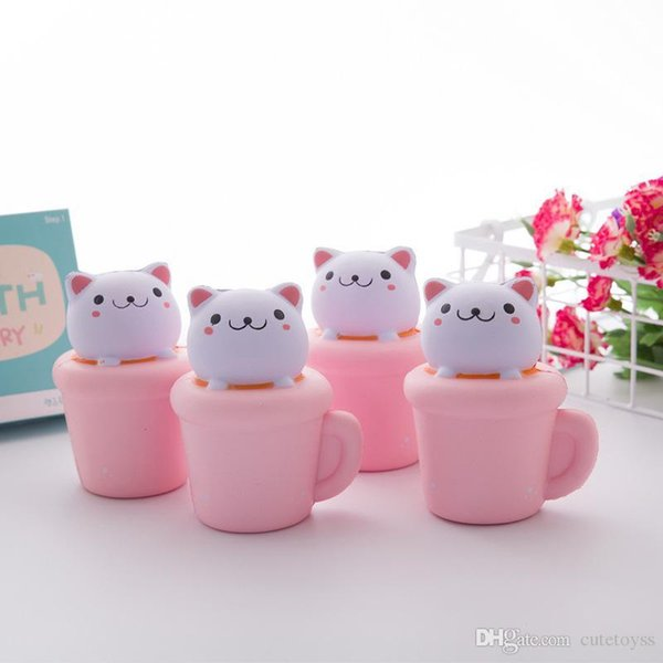 Pretty store Squishy Toys Cake cup Decompression Toy kitty Kawaii Animal Kids Gift squishies t127 wholesales price