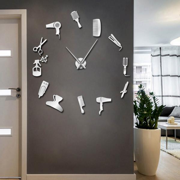 top popular Barber Shop Hair Tools Oversized DIY Wall Clock Frameless Hair Salon Big Time Clock Fashion Hairdresser User-defined Room Decor 2020