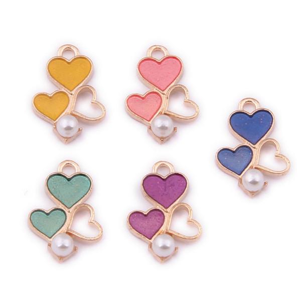 200PCS, Enamel Charm Small Heart Charm Enamel Heart Pearl Heart Jewelry Bracelet Charm Craft Supplies Gold Tone 13x19MM