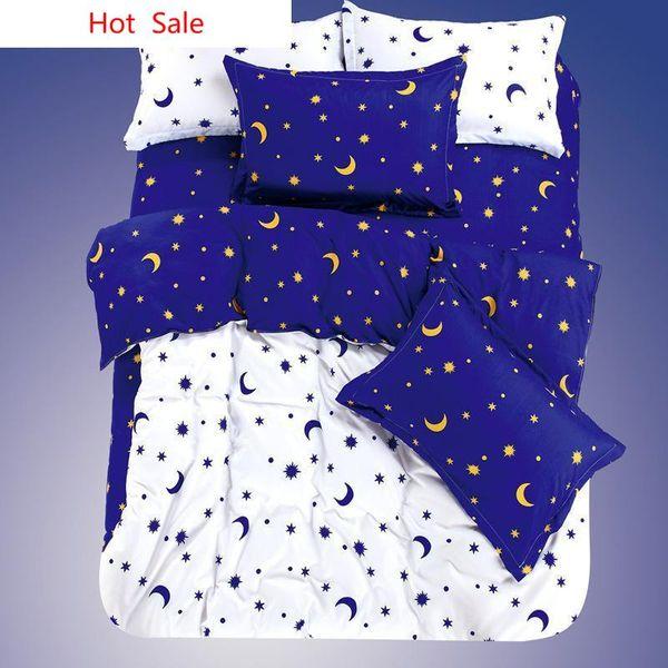Großhandels-Qualität 2019 Neue Bettwäsche Set 4PCS Print Moon Star Plaid Stil Tröster Bettwäsche Set Bettlaken / Bettbezug / Bettlaken