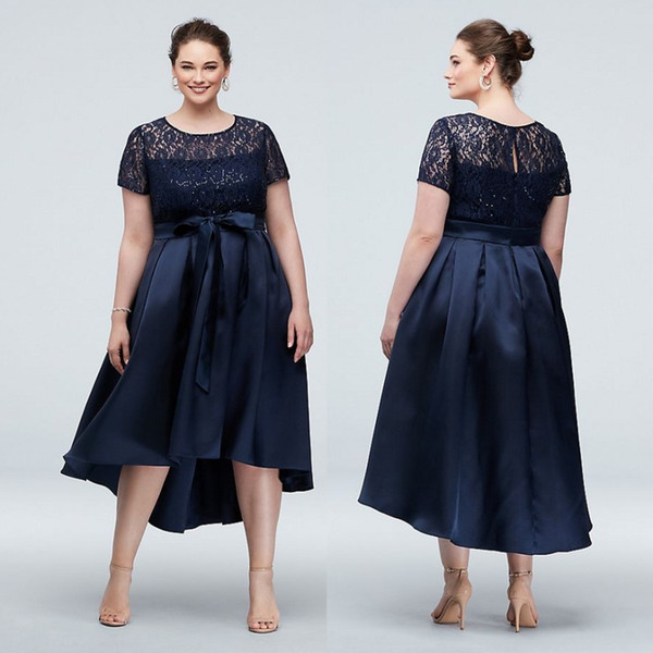 Navy Blue High Low Lace Plus Size Prom Dresses A Line Sheer Jewel Neck  Sequined Evening Gown Short Sleeves Satin Formal Dress Plus Size Belts Plus  ...