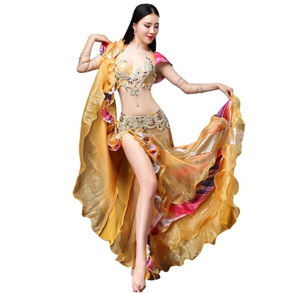 Women Bra with Skirt Belly Dance Suit Faux Diamond Decor Backless Dancing Performance Set JL