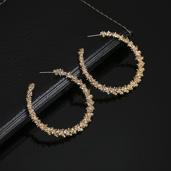 Personality Silver Gold Rose Gold Earrings For Women Rhinestone Exaggerated Big Circle Earrings Simple Hoop Pendientes