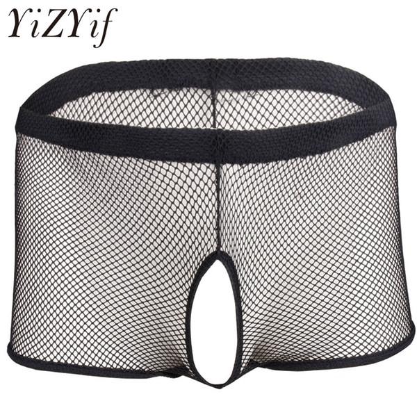 YiZYiF Hot Hommes Résille Transparent Jockstrap Ouvert Entrejambe Fesses Boxer Shorts Sous-vêtements Sous-vêtements Pénis Trou Gay Sexy Culotte