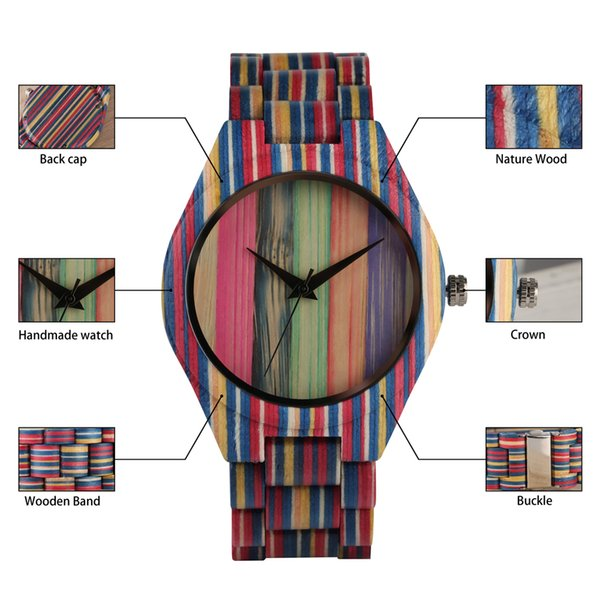 Retro Minimalist Wooden Watch Creative Corlorful Bamboo Wooden Watches Band Natural Non-toxic Watch for Men Women Teen