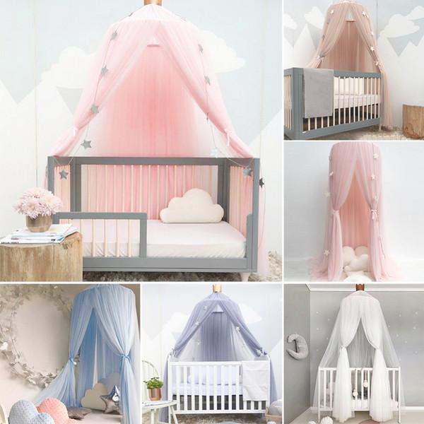 Red de cuna Princesa cúpula cama con dosel ropa de cama de los niños de encaje redondo Mosquito Net para dormir bebé 5 colores C19041901