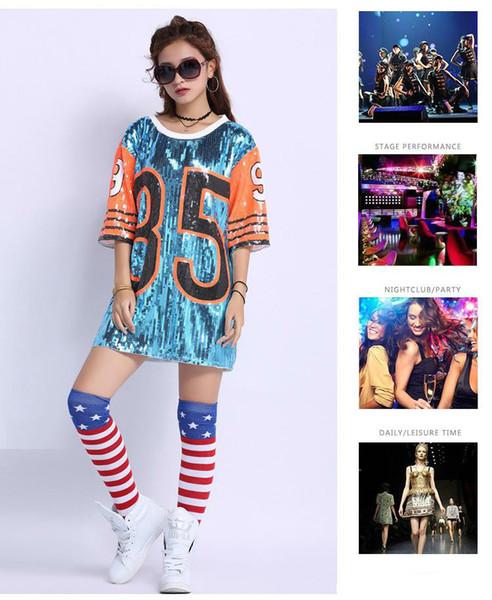 Mostra Abiti da ballo Costumi Lunga Tee Street Danza ballerine Vestito paillettes larghe Magliette Top Sexy per le donne