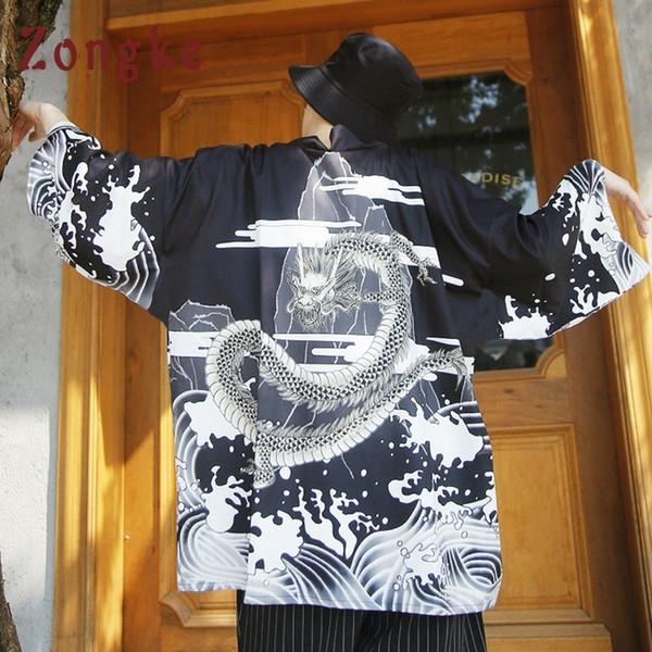 Zongke Dragon Summer Long Cardigan Men Traditional Japanese Kimono Male Open Stitch Jacket 2018 C19041901