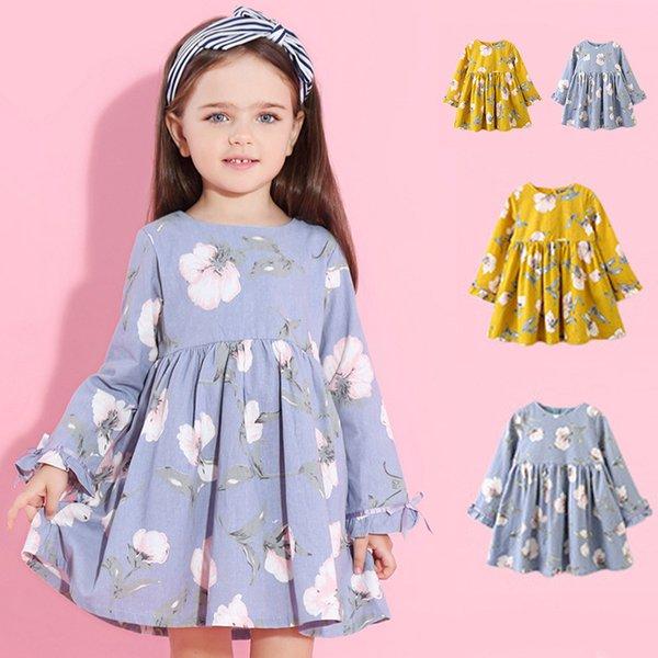 Compre Vestidos Para Niñas 2019 Moda Para Niños Vestido De Niña De Dibujos Animados Manga Larga Vestido De Princesa Moda Para Niños Vestidos Para