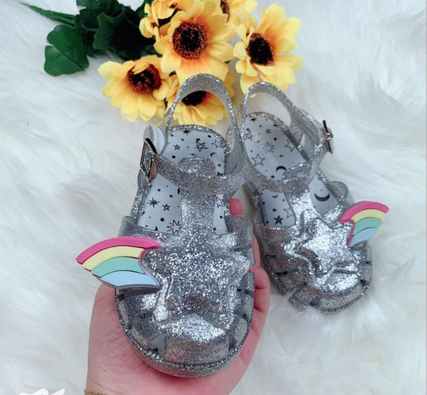 2019 summer New melissa child rainbow star Hollow Fragrant incense jelly Baotou sandals Shoes with metal tips kids sandals