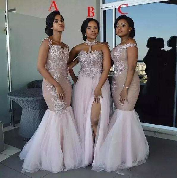 2019 New Mixed Styles Prom Dresses Off Shoulder Appliques Side Split Floor Length Plus Size Bridesmaids Dress Evening Party Gowns