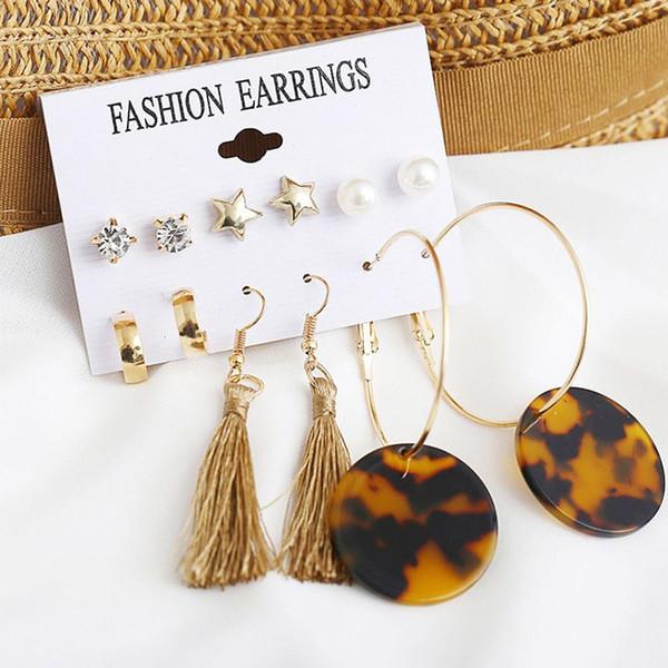 6 paires / set gland boucles d'oreilles rondes pour les femmes à la mode mixte acrylique noir déclaration coréenne longues boucles d'oreilles ensembles de bijoux de mode
