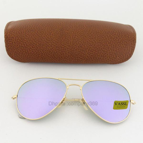 2pcs migliore qualità oro opaco telaio in metallo lente viola occhiali da sole di marca uomini donne pilota UV400 Vassl occhiali da sole firmati 58mm Vieni scatola