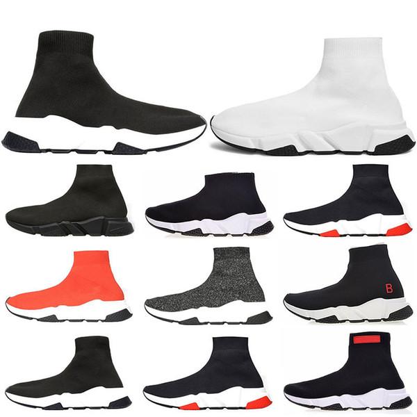 Paris Üçlü S Rahat Ayakkabılar Moda Marka Tasarımcısı Çorap Ayakkabı Hız Trainer Siyah Kırmızı Üçlü Siyah Çorap Sneakers