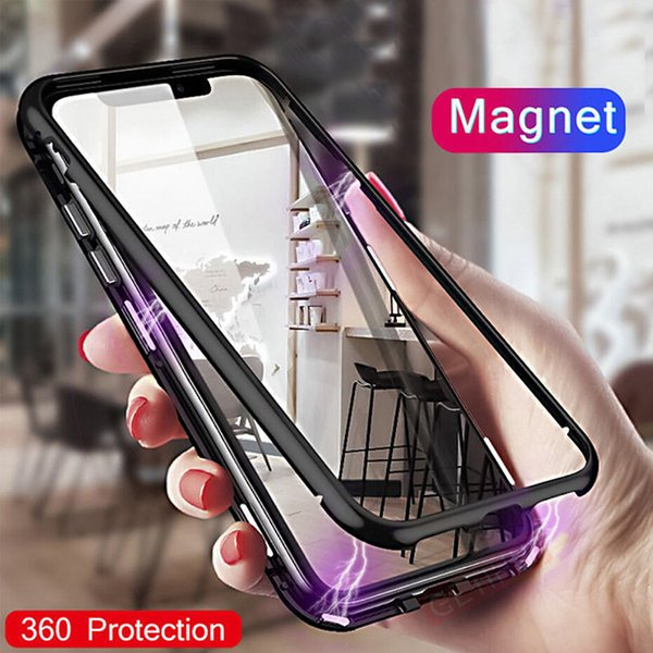 Magnetic Adsorption Metal Case for for Samsung NOTE 10 iPhone XR XS MAX Full Body Metal Case with Back Tempered Glass