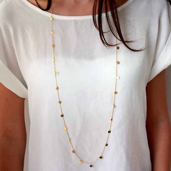 Bohemio Plata Cadena de Oro Monedas Borla Collar Largo Joyería de Moda de Doble Desgaste Way Maxi Collar accesorios de ropa