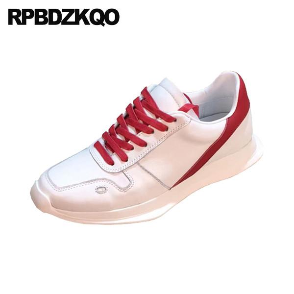 uomo Italia vera pelle sneakers di alta qualità di lusso pelle di mucca bianco scarpe da ginnastica nere italiane italiane di marca famosa moda