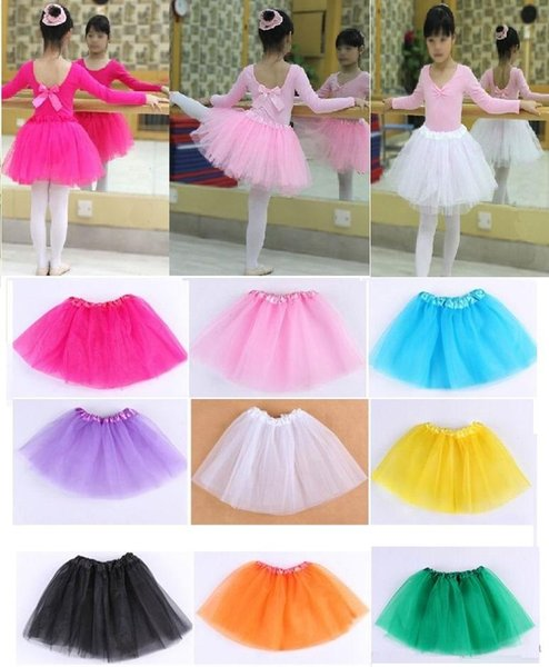 best selling 18 colors Top Quality candy color kids tutus skirt dance dresses soft tutu dress ballet skirt 3 layers children pettiskirt clothes