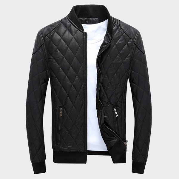 Men's Leather Jackets Stand Collar Thick Warm Motorcycle Bike Riding Faux Jacket Male Fashion Velvet Plaid Pu Coats M-4xl Ml017