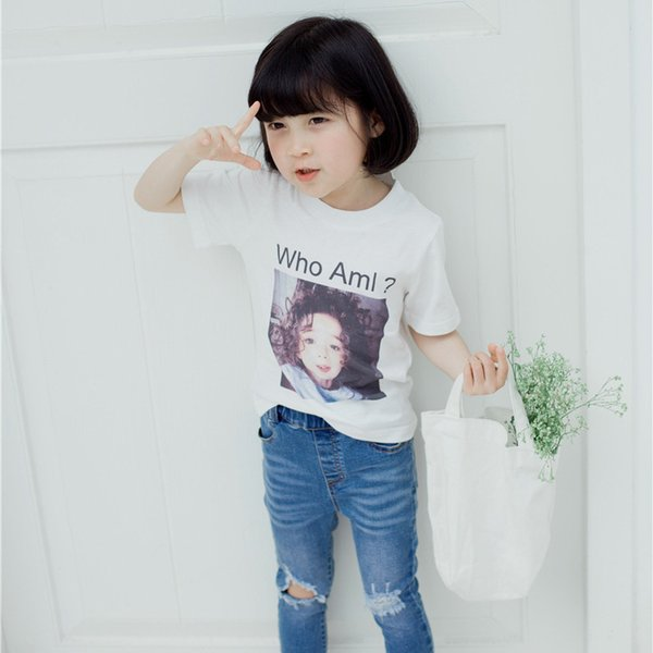 74c110f9532 Girls printed casual t shirts kids cotton summer cute tops baby o-neck  short sleeve all match white t-shirt children clothes