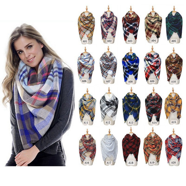Otoño Invierno Bufanda a cuadros Chal 140 * 140cm Cachemira Bufanda a cuadros de doble cara Mujer Niñas Bufandas cálidas y suaves HHA735