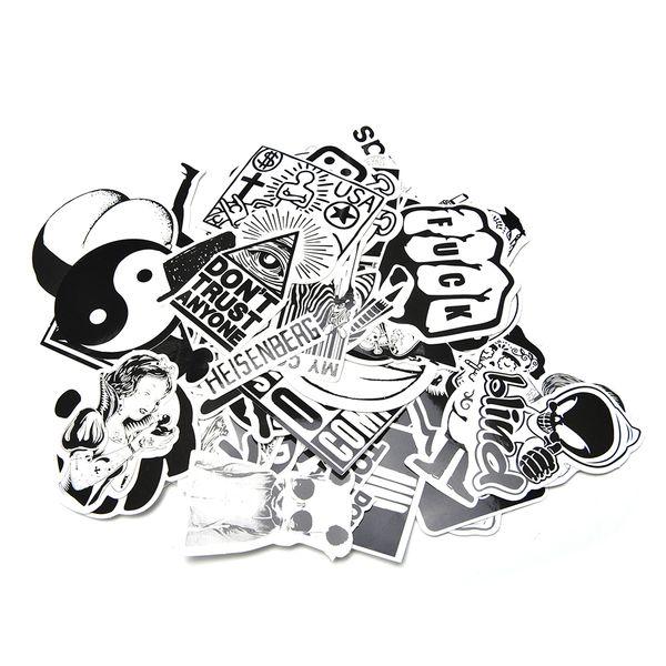 adesivo 60 Pz / set Sticker Decor Accessorio Nero Bianco Stickerbomb Decalcomanie Decalcomanie Decor Non ripetere decorazione auto
