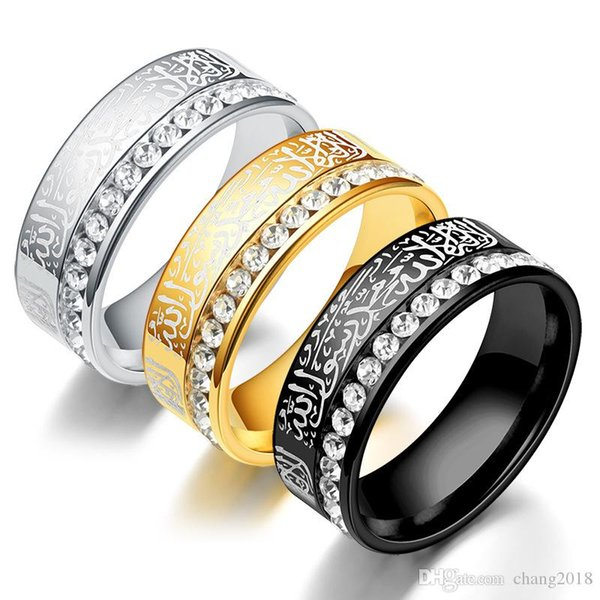 diamond Band Rings Atoztide Quran Stainless Steel Ring Islam God Messager Gold Color Middle Rings Women Men Gift xz-0005