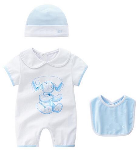 Macacão de bebê Terno Bebê Verão Meninos Roupas Dos Desenhos Animados Do Bebê Recém-nascido Roupas de Manga Curta-Gola Boneca Infantil Macacões Menina Roupas conjunto