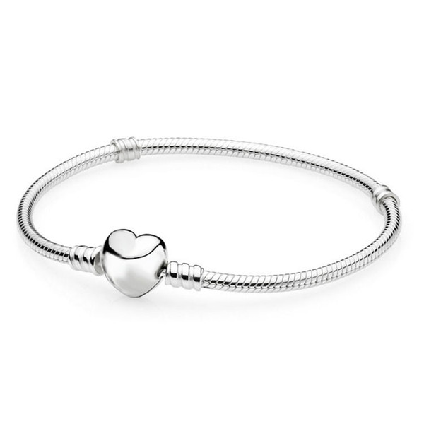 Authentic 925 Sterling Silver Bracelet Fit Pandora Charms Heart Pave CZ Bangle with logo bag European Beads Real silver Jewelry For Women