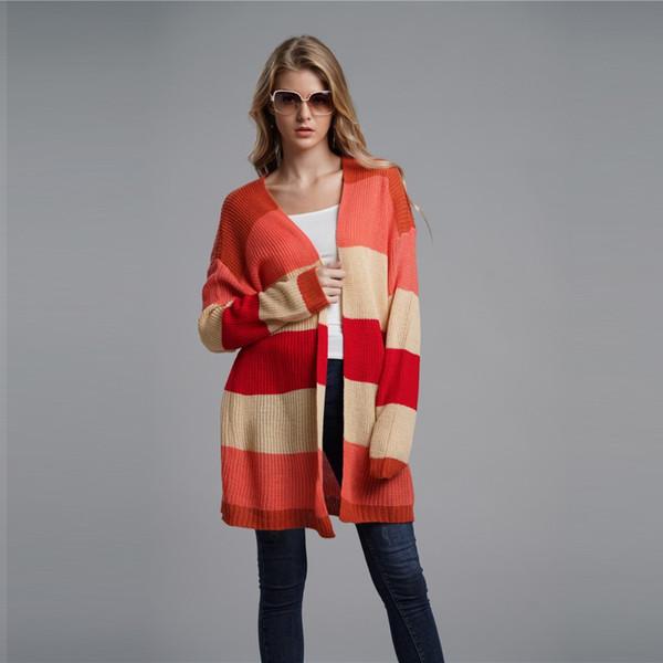 Rainbow Striped Long Cardigan Ropa de Mujer 2018 Moda de Invierno Chaqueta de Punto Cardigans Suéteres Punto de Punto Abierto Knitwears