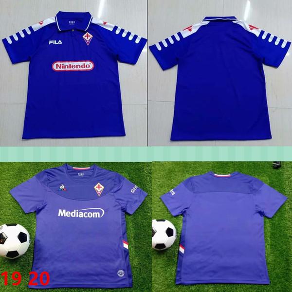 1998 1999 Ретро футболки Fiorentina 9 BATISTUTA 10 RUI COSTA Custom Vintage 19 20 Футбольная футболка Florence Home Camisas de Futebol