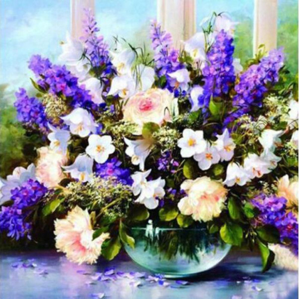 best selling Diamond Embroidery Flowers Picture 5d Diy Diamond Painting Needlework Diamond Mosaic Cross Stitch Wall Picture Home Decor Gift