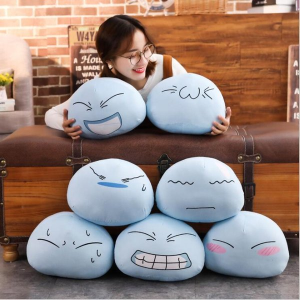 Anime Tensei Shitara Schleim Datta Ken Rimuru Sturm Cosplay Party Maskottchen Spielzeug Blau Nette Emoji Gefüllte Plüsch Cartoon Puppe Geschenke Y19070103