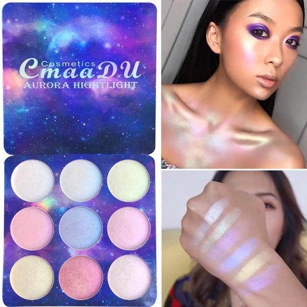 CmaaDu 9 Farbe Natur Holographic Helle Chamäleon Hohe Pigment-Funkeln-Augen-Schatten-Puder-Paletten-Schimmer-Make-up-Kit Wasserdicht