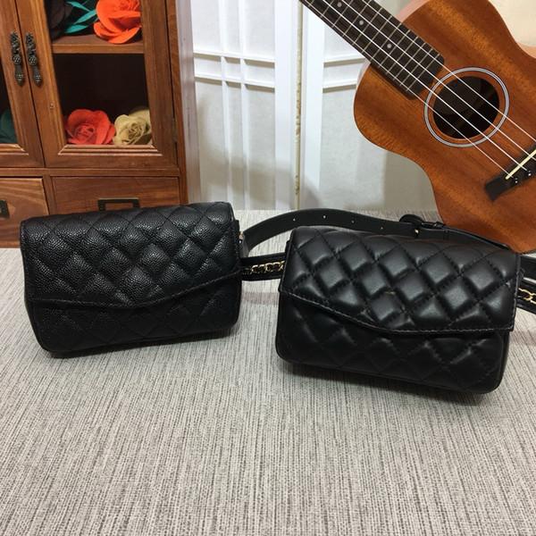 Art- und Weisefrauen-Markenhandtaschen aus echtem Leder Lammfell / Kaviar Gold Ketten Taille Taschen # 52 Umhängetasche Brusttaschen Geldbörsen Freies Verschiffen